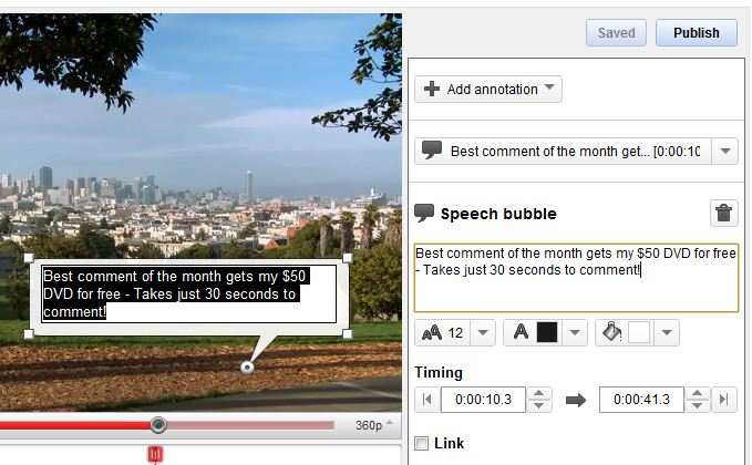 YouTube Annotation Example